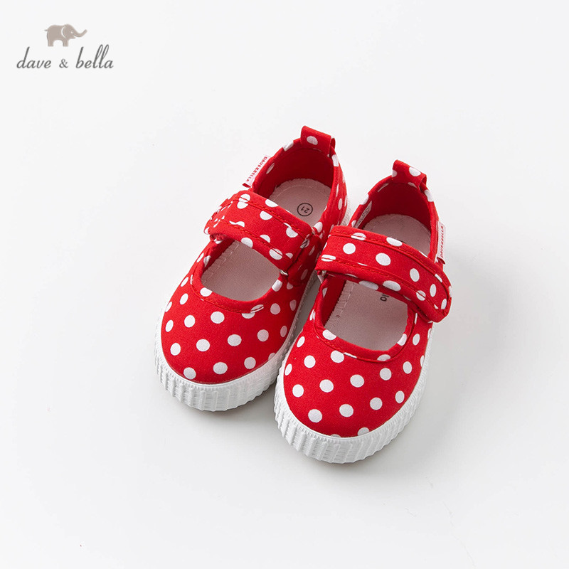 DB12636 Dave Bella Spring Baby Girl Canvas Shoes New Born Girl Casual Shoes Red Dot Shoes