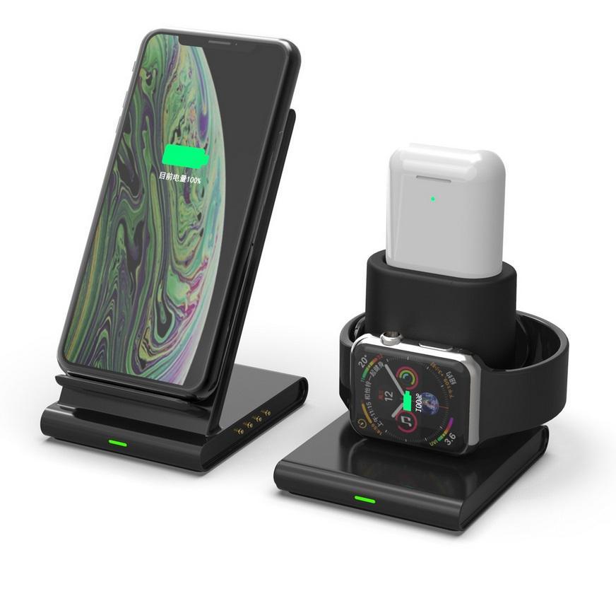 DSstyles 3 en 1 support de chargeur sans fil pour iPhone XS Max XR X 8 Samsung S9 S8 S7 Apple Watch 4 3 2 Airpods Dock de chargement rapide