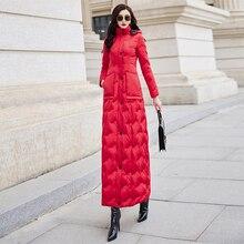 Красный пуховик для женщин 2019 зима новый тонкий Талия длинный теплый белый утиный пух Мода темперамент 6043