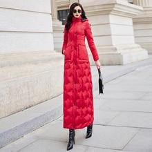 Red down womens 2019 winter new slim waist long warm white duck down fashion temperament 6043