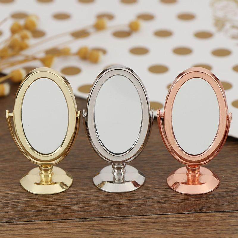 Dollhouse Miniature Vintage Vanity Mini Mirror 1/12 Scale Dolls Bathroom Furniture Toy Accessories Glod Sliver Rose Gold