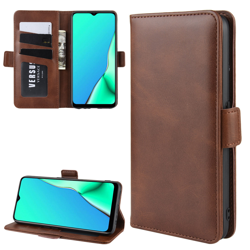 Double Buckle Side Suction <font><b>Case</b></font> for <font><b>OPPO</b></font> A9 2020 Flip Leather <font><b>Case</b></font> Cover for <font><b>OPPO</b></font> <font><b>A5</b></font> 2020 <font><b>Wallet</b></font> Stand Style With Card Slot image