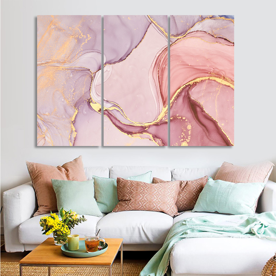 Abstract Stretched Canvas Print Framed Wall Art Home Decor Painting Grey Gold