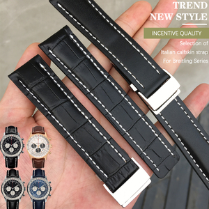 22/24mm Fit for Breitling Genuine Leather watch band strap Premier B01 Colt Chronograph Avenger AVIATOR 8 steel folding buckle
