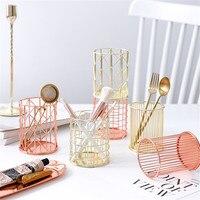 Nordic metalu różowe złoto biuro puszki do przechowywania skandynawskie geometryczne do makijażu w stylu pędzelek do zdobień biurko organizatorzy słoiki pojemnik