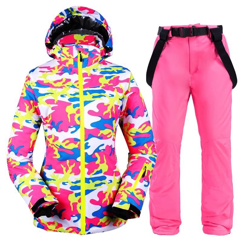 New Winter Women ski suit female Snowboard Ski Jacket + pants Clothes Windproof Waterproof Breathable Outdoor Sports Ski Suit