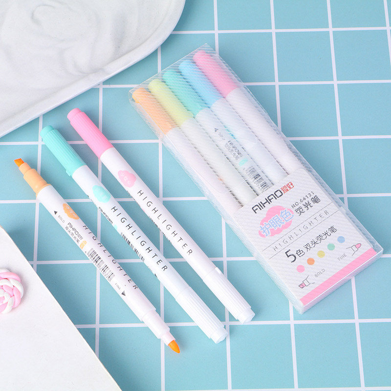 5 Pcs/Set Double Headed Highlighter Cute Fluorescent  Marker Pen Milkliner 5 Colors Mark Pen For Kids School Office Supplies