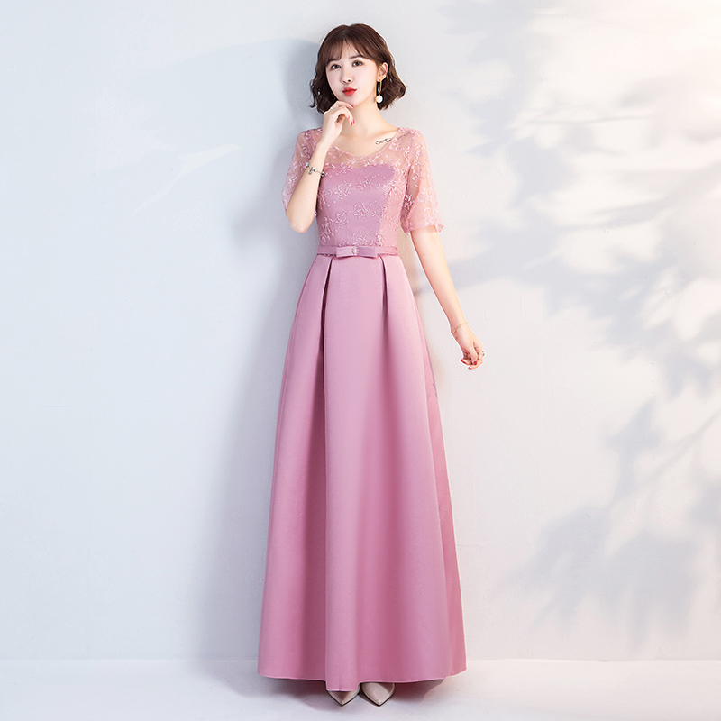 O-Neck A-Line Taffeta Long Dresses For Wedding Party Pink Burgundy Bridesmaid Dresses Embroidery Vintage Sexy Prom Dress Vestido