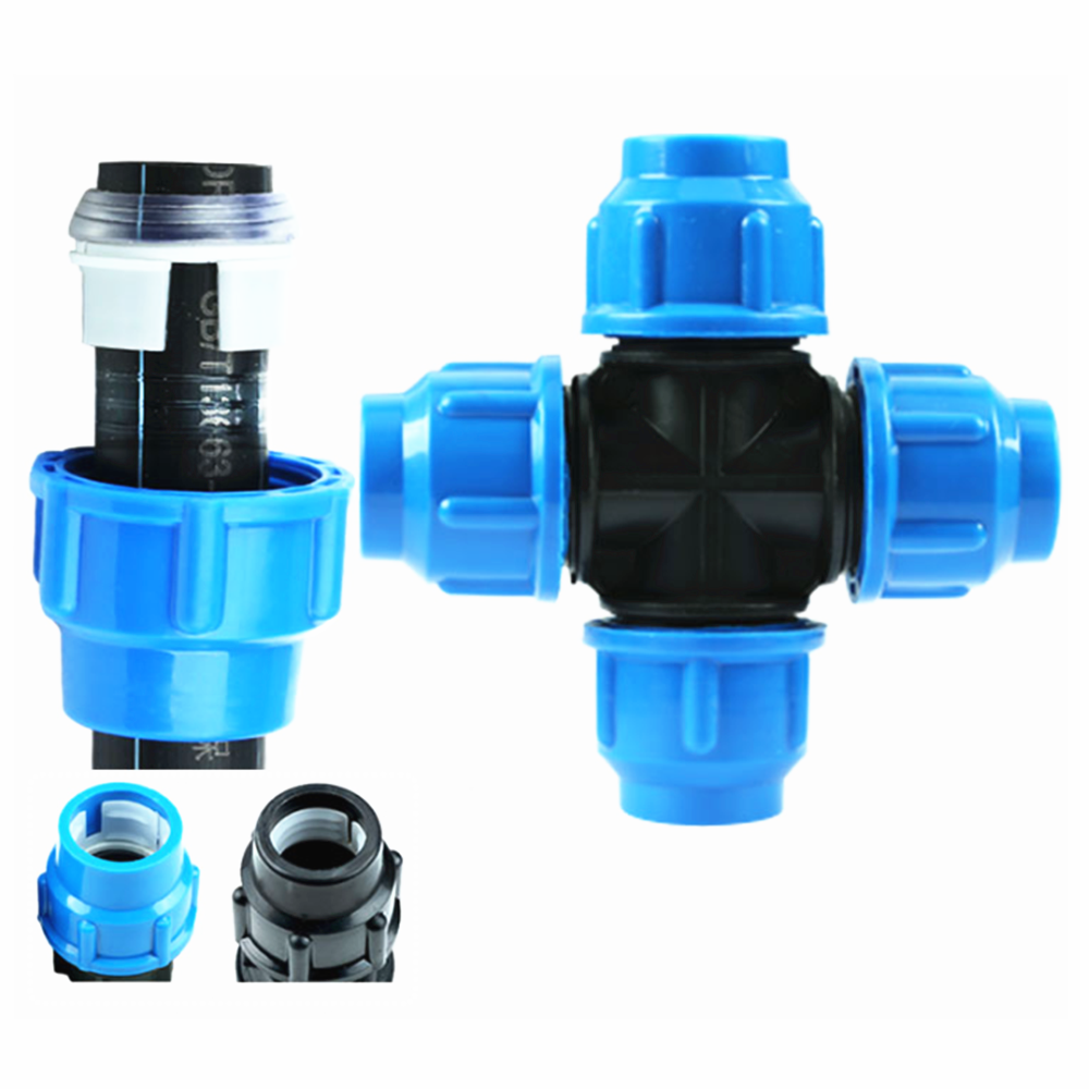 PE Fittings Quick Union Plastic Fittings Four-way Union Joint 20/25/32/40/50/63mm
