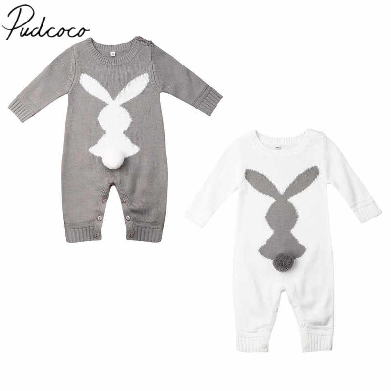 2019 Baby Autumn Winter Clothing Newborn Baby Boy Girl Bunny Knitted Wool Romper Long Sleeve Warm Bunny Print Playsuit Outfit