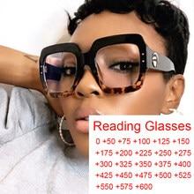 Gafas de lectura cuadradas de gran tamaño para mujer, anteojos de lectura con luz azul, de marca lujosa, con lector de presbicia para ordenador, de 0 a 6,0