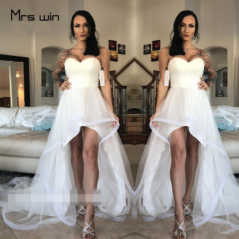 Mrs Win Wedding Dress Sexy Strapless Wedding Dresses High Low Length Plus Size Vestido De Noiva Elegant Beach Wedding Gown HR040
