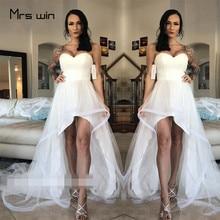 Mrs win Wedding Dress Sexy Strapless Dresses High Low Length Plus Size Vestido De Noiva Elegant Beach Gown HR040