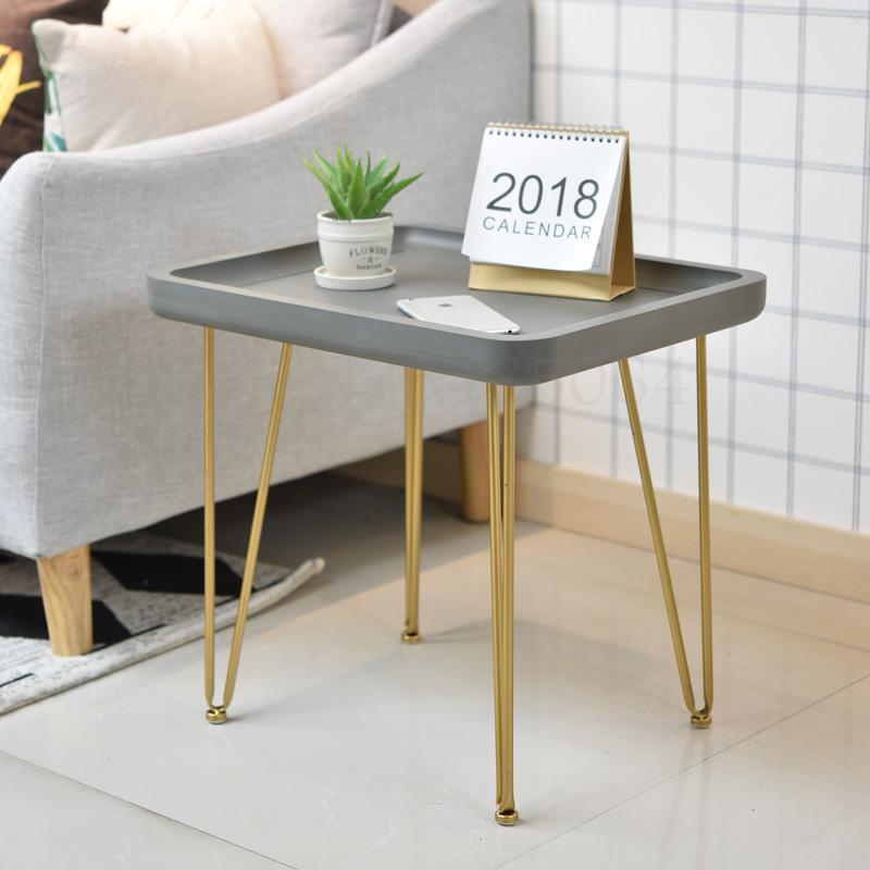 Скандинавский Маленький журнальный столик из кованого железа с имитацией цемента для балкона, маленький кофейный столик для гостиной