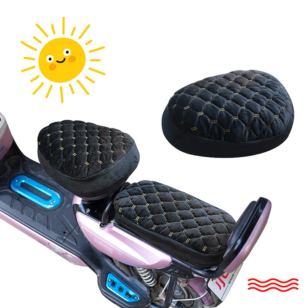 Motorcycle Seat Cover Plush Warm-keeping Soft Seat Protector Electric Scooter Black Winter Warm Plus Velvet Thick Sponge Cover