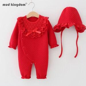 MudKingm Baby Girl chrzest pajacyki jesień noworodka wzburzyć koronki kombinezon z długim rękawem dziewczyny stroje ubrania