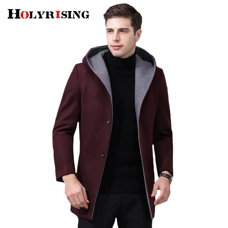 Holyrising Men Wool Coats Turn Collar Hooded Mens Overcoat Slim Chaqueta Larga Warm Peacoat Casacos Zipper Menswear 19011-5