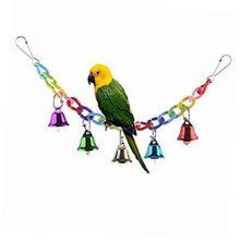 Colorido montanhismo balanço brinquedo com pássaro papagaio africano cinza arara amor pássaro sinos brinquedo balanço para gaiola animais de estimação papagaio brinquedos aves