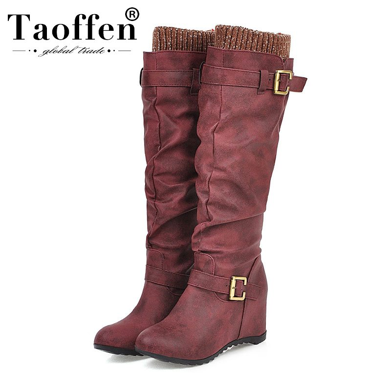 Taoffen 4 Color Women Knee High Boots Wedges Slip On Buckle Retro Boots Casual Winter Warm Brand Shoes Woman Footwear Size 33-44