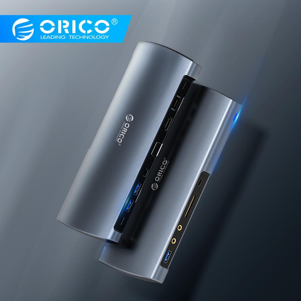 Moyeu de USB C en aluminium ORICO Type C vers HDMI/VGA/MiniDP/USB3.0/lecteur de carte/RJ45/PD/adaptateur de carte son séparateur pour MacBook Pro Huawei