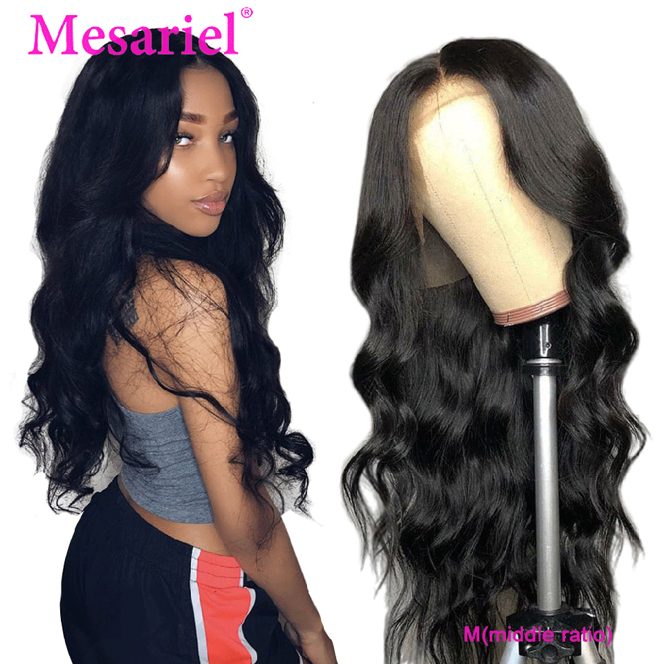 Mesariel Hair 13*4 Lace Front Human Hair Wig Pre Plucked With Baby Hair M 150% Brazilian Remy Body Wave Wig For Black Women