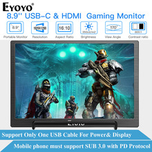 "Eyoyo EM08H IPS Tragbare Monitor HDMI Typ USB C LCD bildschirm 8.9 ""PC PS4 Xbox 360 1920X1200 Display für raspberry schalter Laptop"