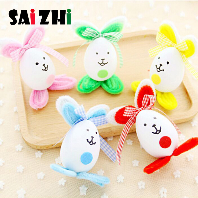 Saizhi Easter Eggs DIY Toys Cute Bunny Rabbit Hanging Toy Decorate Kids Handmade Toy Material Package Handmade Parent-Child Game