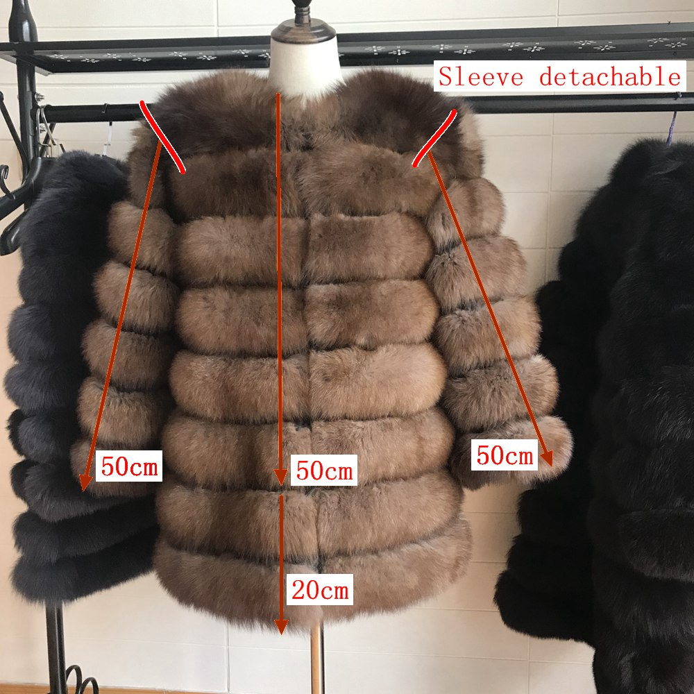 70CM Women Fur Coat Fox Real Natural Winter Genuine Natural Women Fox Fur Coat With Fur Vest Girl Coat Womens Vests Fox Coat DHL