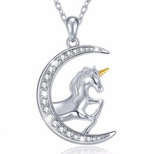 Fashion New 100% 925 Sterling Silver Loving Horse Animal With CZ Pendant Necklace for Women Jewelry Mother Gift free shipping loving mother
