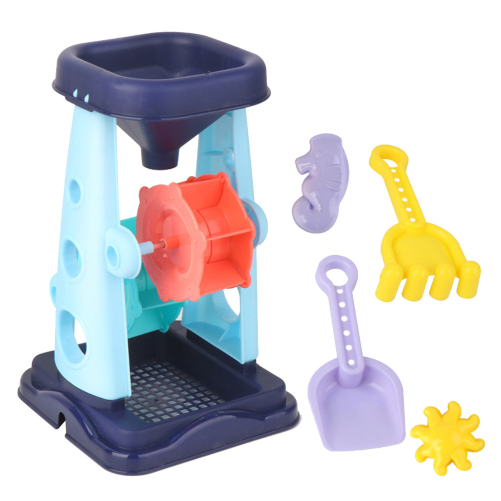 5pcs In 1 Set Kids Beach Toys Set Hourglass Sand Toys Creative Sand Tools Kit Sand Shovel For Children Toddlers (Blue, Random Co