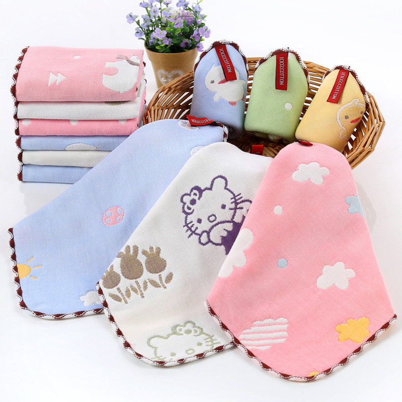 10/pcs Baby towel comfortable soft toddler face wash handkerchief cute cartoon newborn muslin feeding wipe cloth Infant supplies