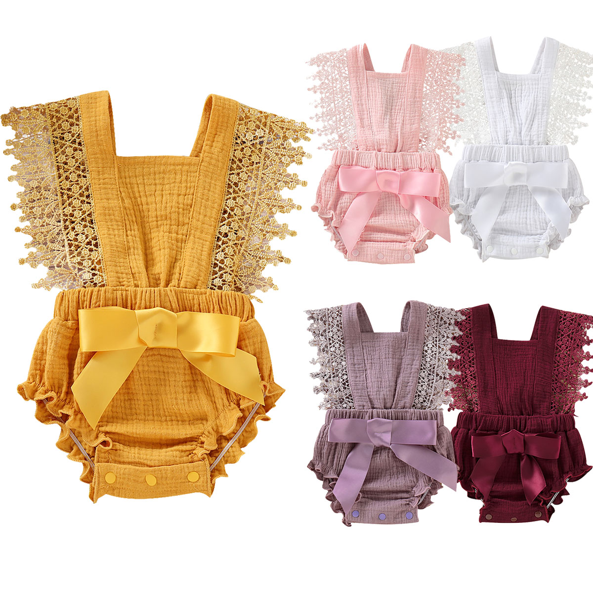 Newborn Infant Baby Ruffle Romper Lace Flutter Sleeveless Princess Clothes Bowknot Tassels Jumpsuit Sunsuits Summer Outfits D20