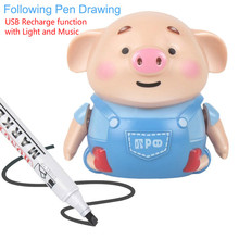 Cute Pig with Music Inductive Train Magic Pen Educational Toy Cartoon Robot penguin Follow Any Line You Draw Drawn Dog Xmas Gift