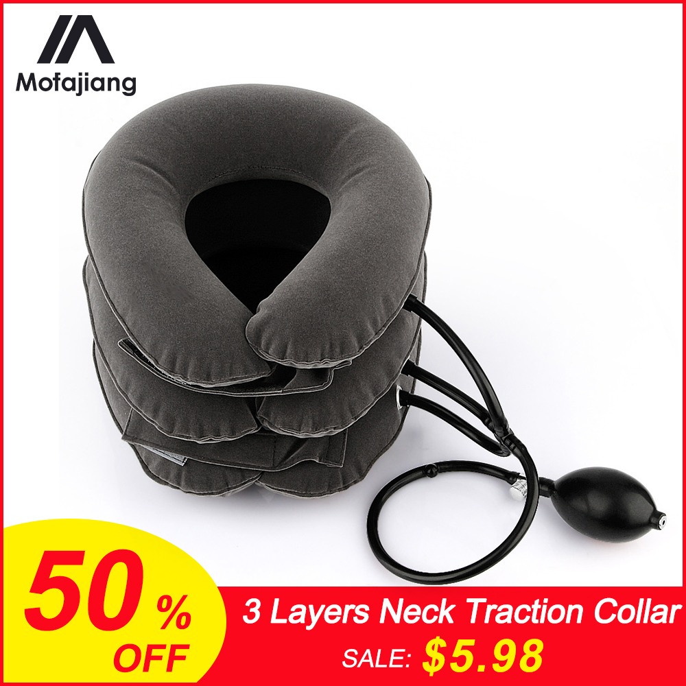 Neck Support Brace Neck Traction Collar 3 Layers Relax Soft Cervical Relief Traction Device Back Shoulder Pain Massager