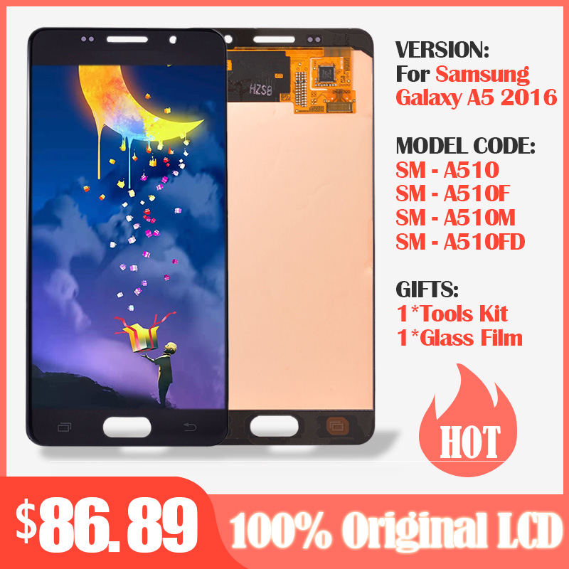 Original SUPER AMOLED 5.2''For <font><b>SAMSUNG</b></font> Galaxy A5 2016 A510 <font><b>A510F</b></font> A510M A510FD <font><b>LCD</b></font> Display +Touch Screen Digitizer Assembly Parts image