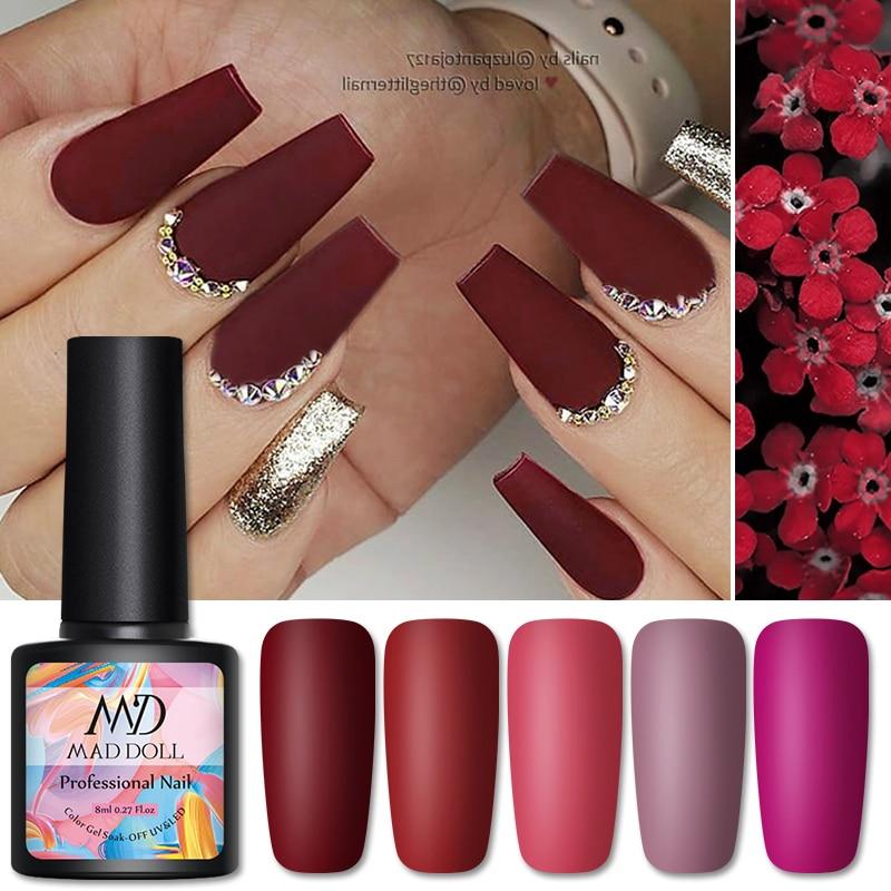 MAD DOLL 8ml Nail Gel Polish Plum Colors Long Lasting Soak Off Nail Varnish Colorful Nail Art DIY Decorations Varnish