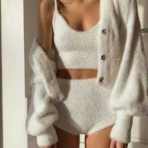 and the United States hot style blogger sweater female autumn female mink wool knitting condole shorts three-piece suit