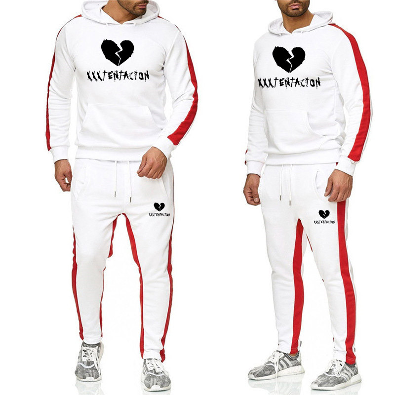 Autumn Winter Hip Hop Hoodies Sweatshirts And Sweatpants Men Two Piece Set Fleece Catching Hooded SuitMens Sporting Suits 2XL