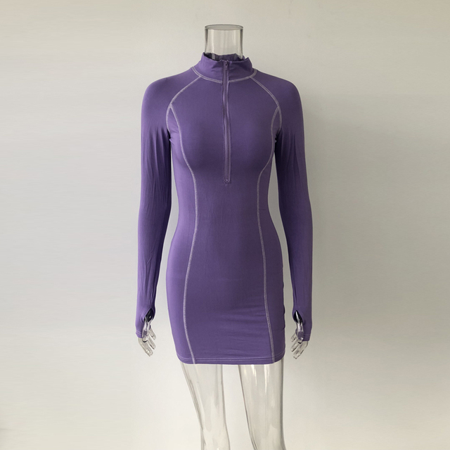 Club Dresses Sleeve Snug Zippers Mini Holiday Dress 6