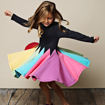 New Fashion Fall Winter Rainbow Long Sleeve Cotton Color Block Cute Baby Girl Cotton Party Dresses for Kids Princess Girls Dress autumn winter girls princess mini dress kids baby girls party wedding pageant long sleeve sweater dresses cute ball kids costume