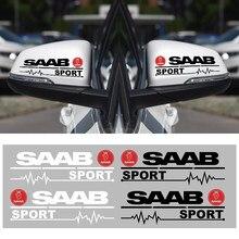 2 uds coche pegatinas para espejo retrovisor coche insignia decoración del emblema calcomanías para SAAB 9-3 9-5 93, 9000, 900, 9-7-7 600 99 9-X accesorios de coche