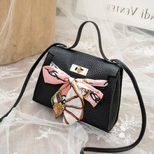 Bow Purse Scarf Shoulder-Bag Women Handbag Fashion Lady Casual Silk DIY Mini Wholesale