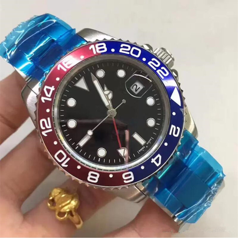 Luxury New Gents GMT II Automatic Watches Stainless Steel Blue Red Circle Master 44mm Mens Watch Relogio Casual Mens Watches