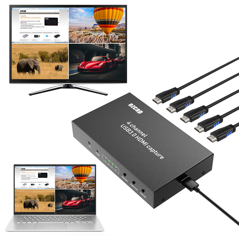 HD 1080P 60FPS 4 Channels Display Multiviewer Switch USB 3.0 HDMI Video Capture Card Recording Live Streaming Box HDTV Loop-Out image