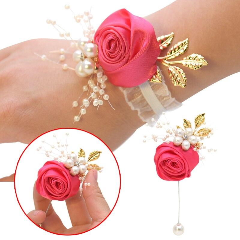 Casamento de pulso flor rosa fita de seda noiva corsage pino broche decorativo pulseira pulseira de dama de honra banda clipe bouquet