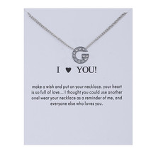 I Love You New Crystal Alphabet Initial Letters Message Card Necklace Pendant Women Necklaces Jewelry Gift tl i love you letters heart puzzle pendant necklace gold