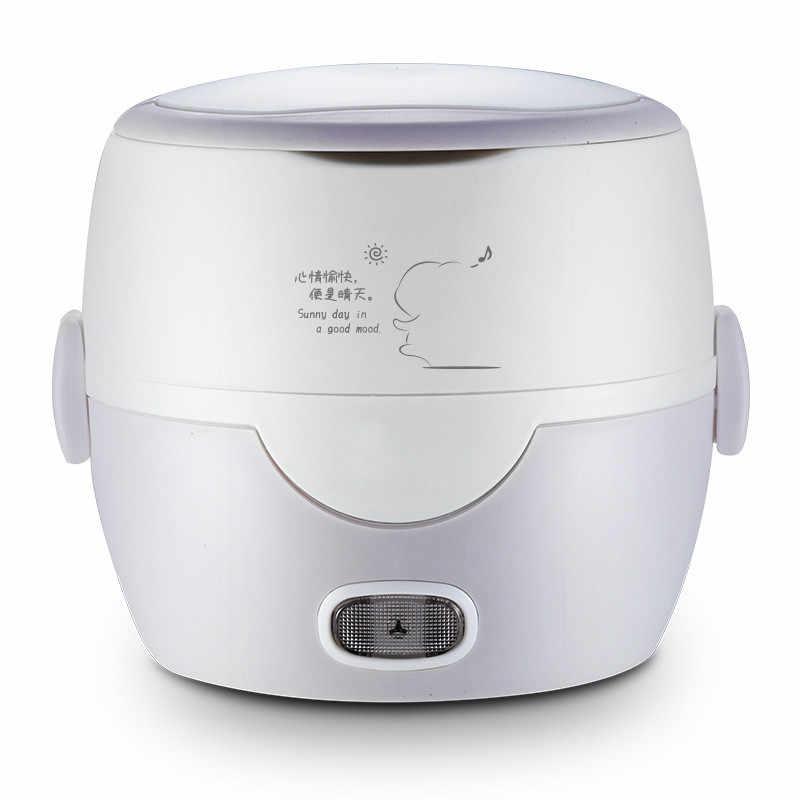 موقد صغير لطهي الأرز التدفئة الكهربائية 2 طبقات مزدوجة علب الاغذية العزل باخرة أوتوماتيكي متعدد الوظائف الغذاء الحاويات 1.3L
