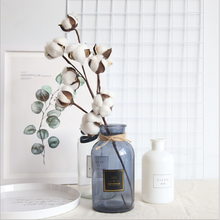 Naturally Dried White Cotton Flowers Artificial Plants Floral Branch Wedding Party Decorative Wreaths Fake Vases for Home Decor