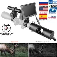 النار الذئب جديد للرؤية الليلية نطاق اللون 5 بوصة شاشة led الصيد الأشعة تحت الحمراء كاميرا تعمل بالأشعة تحت الحمراء مقاوم للماء جهاز للرؤية الليلية ل Riflescope|معدات الرؤية الليلية|الرياضة والترفيه -
