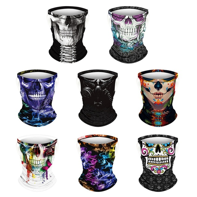 Riding Hood Digital Printed Outdoor Sunscreen Cool Ice Silk Breathable Mask Cool Hanging Ear Scarf Quick-Drying 5